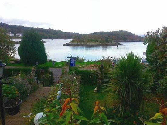 View of front garden and island from the front of The Moorings