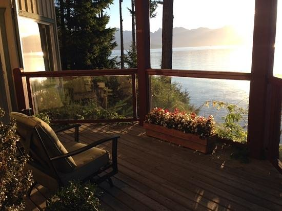 Soames Point Oceanfront Suite : private deck outside your suite door at Soames Point.  Lovely!