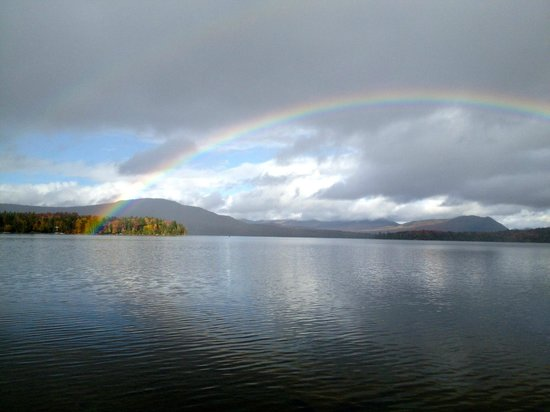 Moosehead Hills Cabins : Rainbow over the lake in 2012