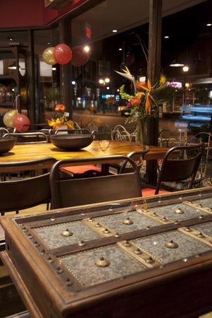 Wood N Frog Coffee Company: Our tables are made from old window shutters rescued from demolished buildings in India