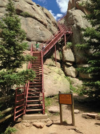 Devil's Head Fire Lookout: stairs to the tower