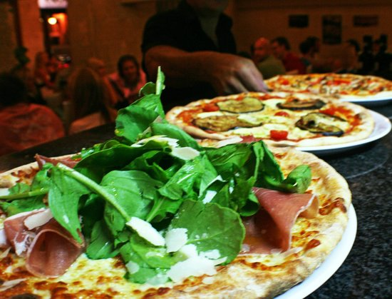 Shows a selection of pizzas from Bianco's restaurant