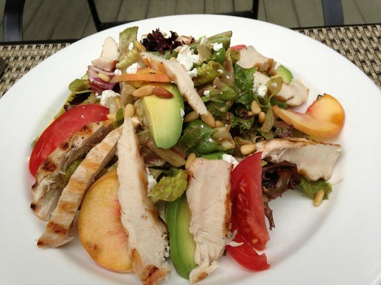 The Esmeralda Inn: Summer Salad: heirloom tomatoes, avocado, grilled peaches, goat cheese, pine nuts, balsamic etc.