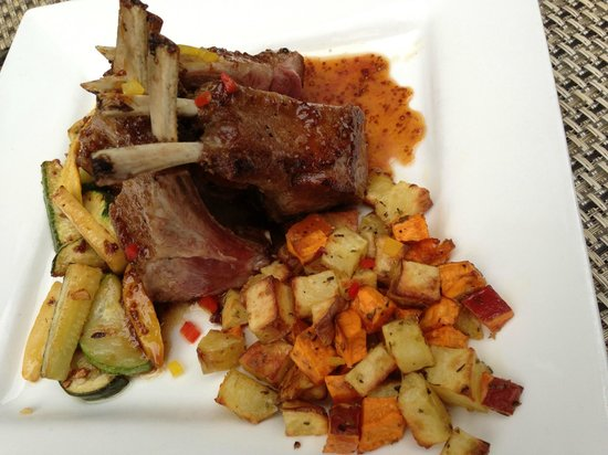 The Esmeralda Inn: Lamb Chops in a whole grain mustard, roasted garlic and Vermont maple sauce