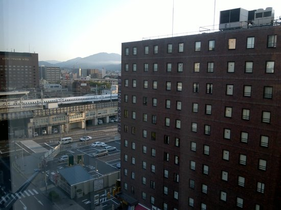 Hotel Keihan Kyoto Grande: View from hotel room with the bullet train in the background