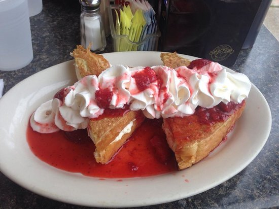 George's Coffee Shop: French toast with whipped cream and strawberries