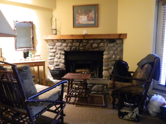 Buffalo Mountain Lodge: log fireplace