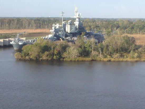 Hilton Wilmington Riverside: North Carolina Battleship as seen from room