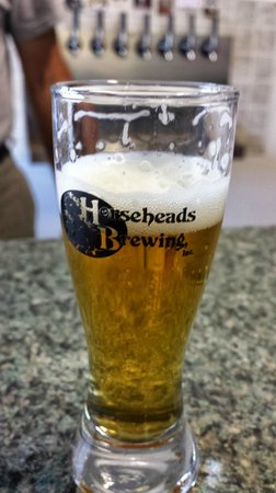 Horseheads, NY: Example tasting glass and taster of beer