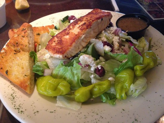 Home Plate Grill & Bar: Blackened Salmon Greek Salad
