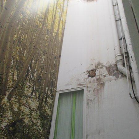 Hostal Gat Raval: la ventana daba a este pozo originalmente decorado!