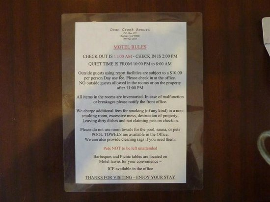 Dean Creek Resort: Motel Rules