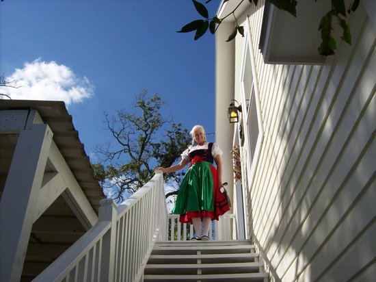 Carriage House Bed & Breakfast : My wife posing at the top stairs of the loft