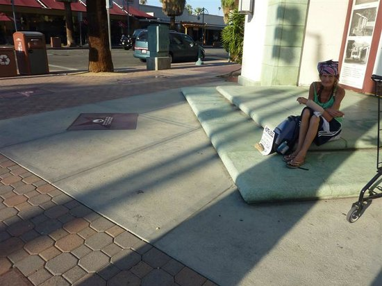 Palm Springs Visitor Information: Homeless in front of downtown library