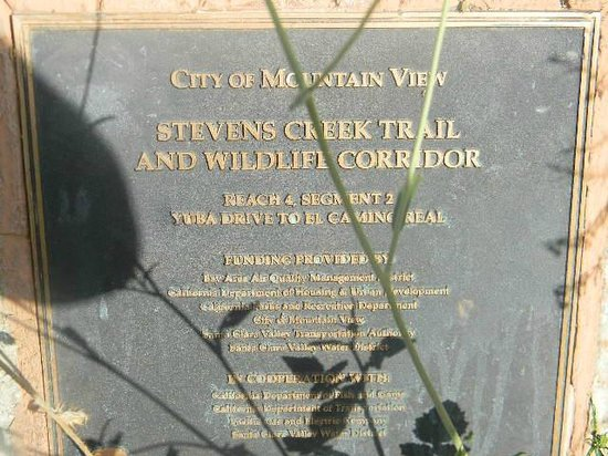 Stevens Creek Trail: plaque at el camino real tunnel