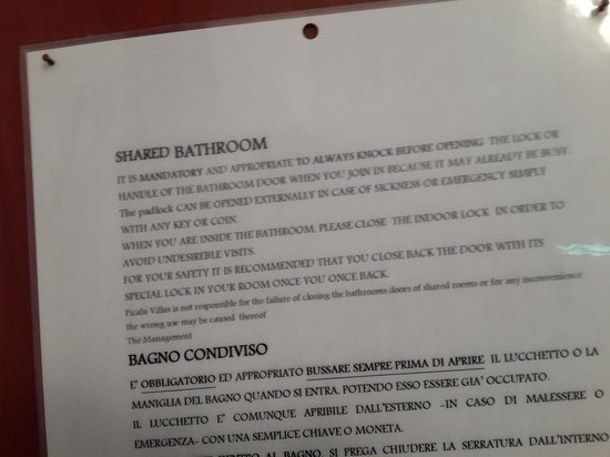 Villas Picalu B&B Boutique : great inconvenience to share the bathroom