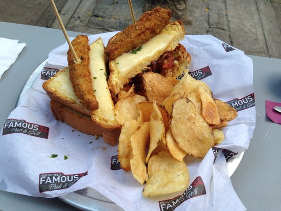 "Herschel's 34 Chicken & Ribs Kitchen: The ""Oh You Herschel Walker"" Grilled Cheese Sandwich, with fried pickle added"