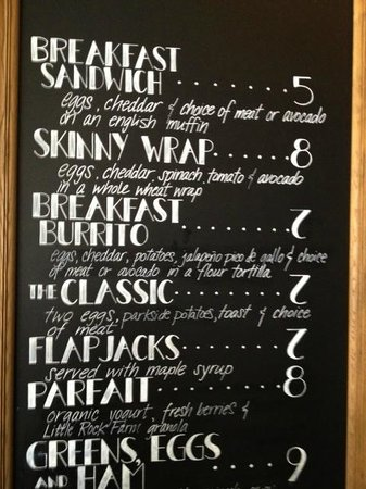 Parkside Market: Part of the breakfast menu