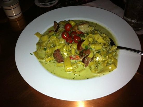 Millstone Tea Room: Shrimp, Sausage and Pasta with a pesto sauche