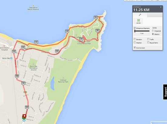 Byron Sunseeker Motel Byron Bay: Walking map from Sunseeker to Lighthouse and return 11km
