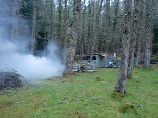 Tazball Paintball & Lazer Combat Arena: Our infamous Glider field, accompanied by smoke from a recently used smoke grenade.