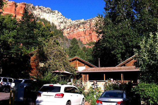 The Canyon Wren - Cabins for Two : Canyon Wren setting against red rocks.