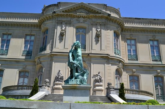 The Elms Statue Behind Mansion