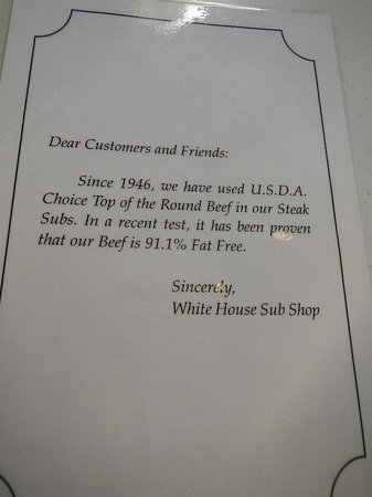 White House Sub Shop: customer sign about the meat
