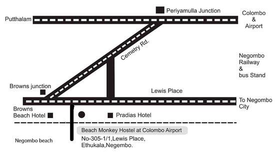 Beach Monkey @ Colombo Airport: map