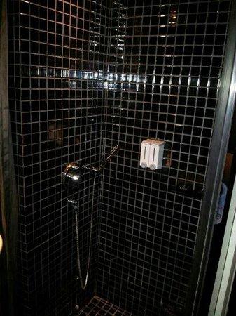 The Porcelain Hotel: Love the rain shower. Bathroom door is 100% see thru glass.
