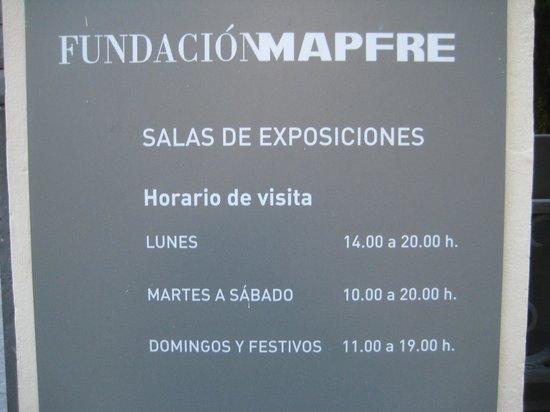 Fundacion Mapfre Recoletos : MAPFRE, Madrid opening hours
