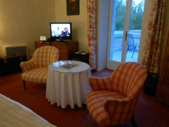 Manoir de la Roseraie : notre chambre avec balcon