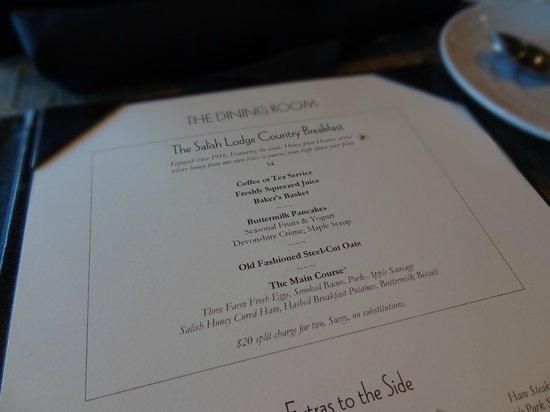 The Dining Room at Salish Lodge & Spa: menu