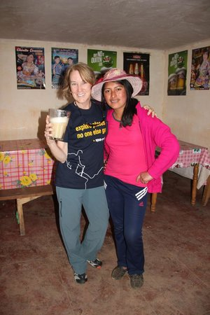 Apus Peru: Mary Ellen learn about chicha (corn beer) in the town of Chinchero