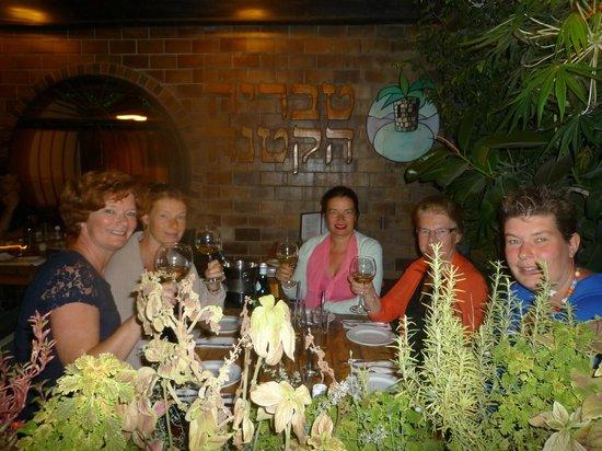 5 ladies enjoying excellent food at little Tiberias