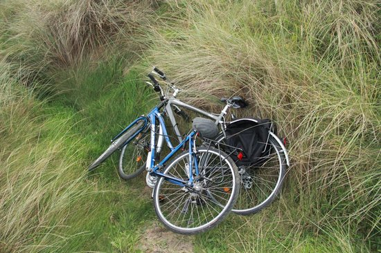 Bushmills Cycle Hire: the cycles rest while we skip in to the beach