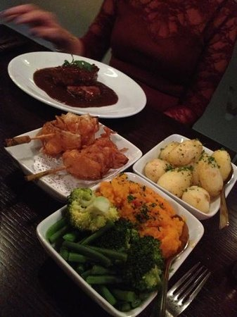Owens: our gorgeous tea and sides! fillet steak Rossini yum!!