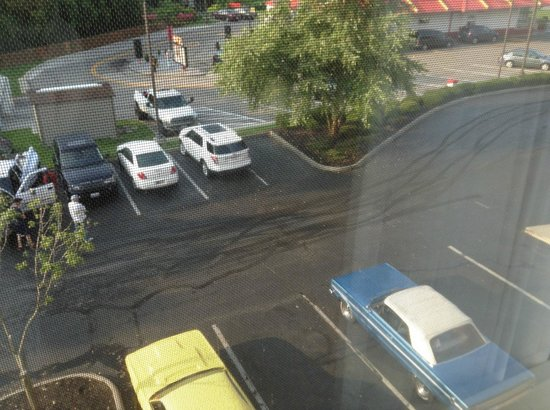 Courtyard by Marriott Newark Granville: muscle car burnout marks under my window. imanager would not stop them from doing this all night