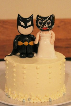 Charleys Waterfront Cafe Wedding Cake With Batman And Catwoman Topper
