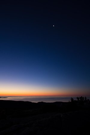 Cadillac Mountain: moon and photographers