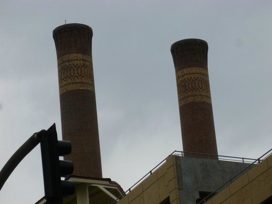 Steam Plant Square: Close up of Steam Stacks