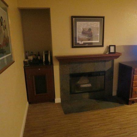 Bodega Bay Lodge: Fireplace and refridgerator