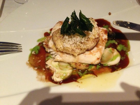 Cliff House Hotel Restaurant: Halibut with cauliflower and foie gras