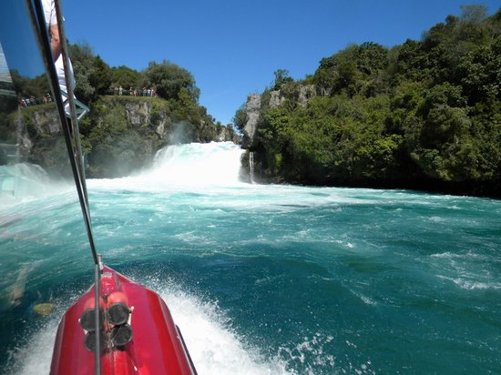 Huka Falls tracks: View from the river cruise boat 1