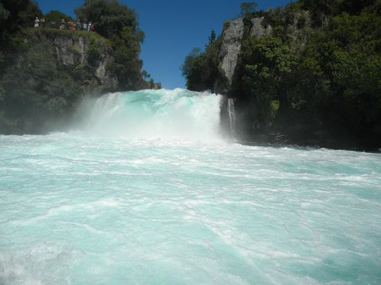 Huka Falls tracks: View from the river cruise boat 2