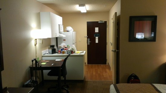 Extended Stay America - Reno - South Meadows: Excuse all my groceries on the kitchen counter. Dining table and Chair, Kitchen, Bathroom on rig