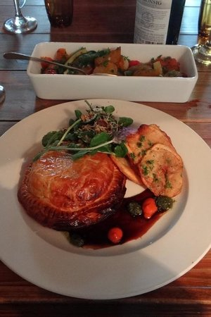 Moggs Country Cookhouse: Oxtail pie with potato wafers and fresh watercress with a grainy mustard drizzle (R85)
