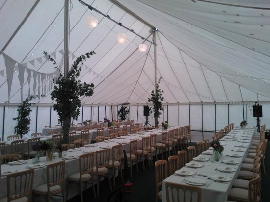 The Crown Inn: Inside the marquee at the Crown, with tables for approx 120. We take responsibility for the deco
