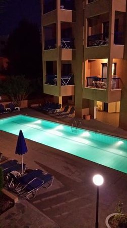 Damon Hotel Apartments : view from bedroom window of small pool