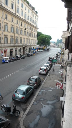 Hotel Solis: View from room down Via Cavour to Forum